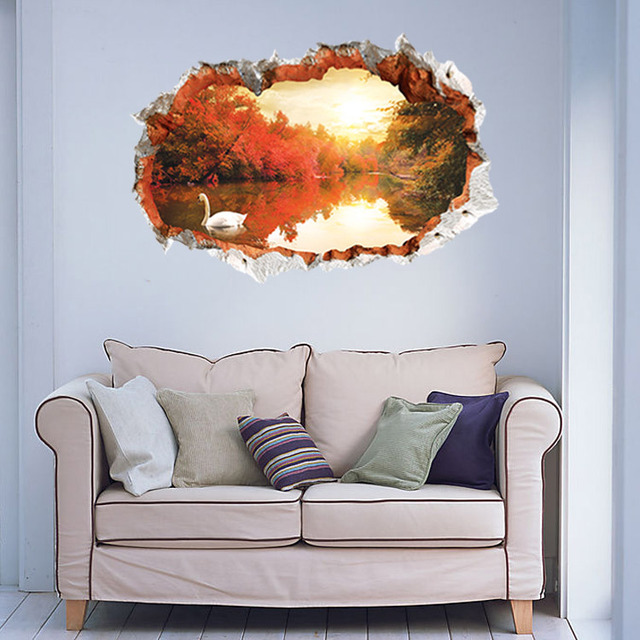 3d sunset glow naturaleza paisaje etiqueta de la pared decorativos ...