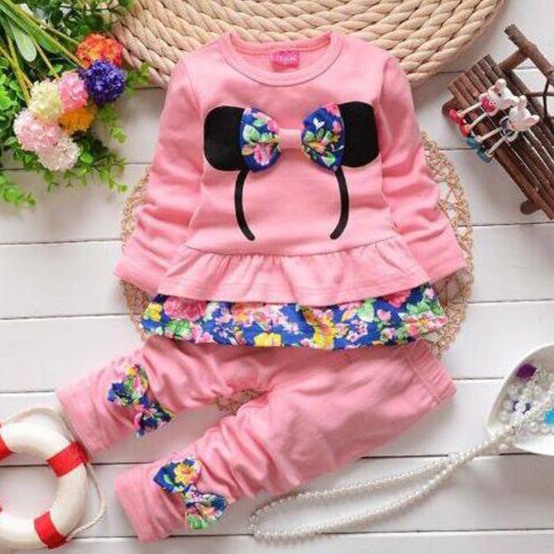 New fashion girls clothing sets minnie cotton children clothes bow tops t shirt + leggings baby kids suits 2 pcs suit retail<br><br>Aliexpress
