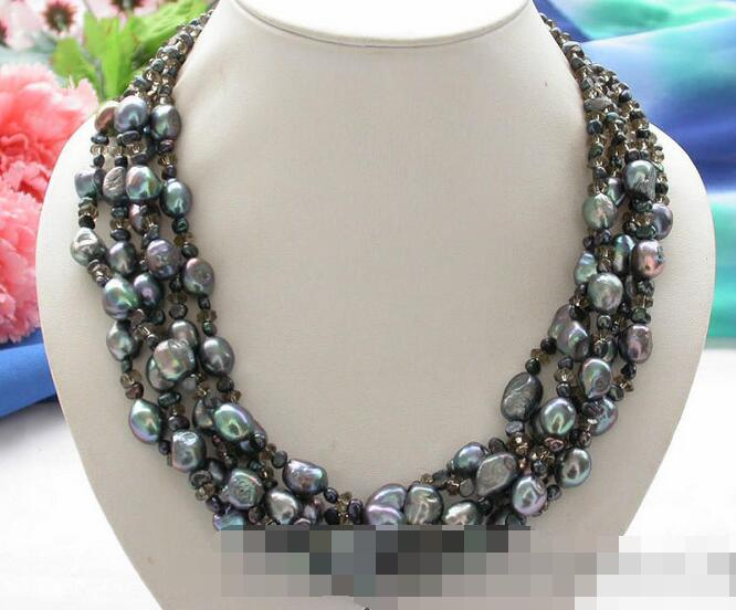 song voge gem nanJ1551 5row black baroque freshwater pearl faceted Smoky Quartz necklace(China (Mainland))