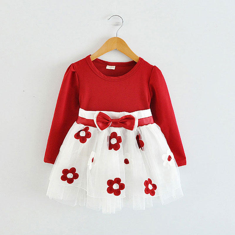 Kids Spring 2016 new baby girls clothes dress tutu dress for toddler girls children birthday party princess dresses long sleeve(China (Mainland))