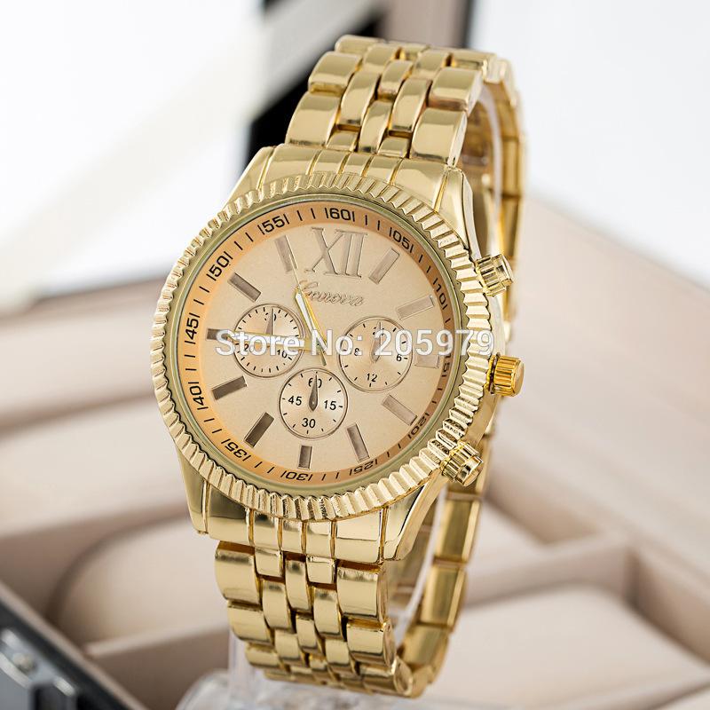 2015 New Fashion GENEVA Brand Watches Men Stainless Steel Quartz Watch Women Luxury Wristwatch Men's Watch relogio masculino(China (Mainland))