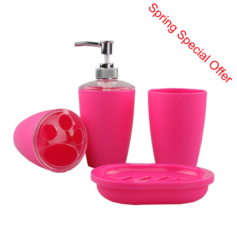 fashion frosted plastic bathroom accessory set plastic