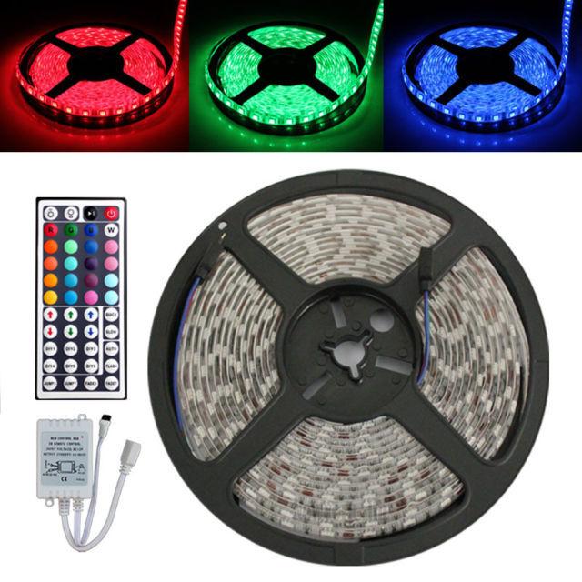 Cristmas Decoration 5M Flexible  LED RGB Light Strip 5050 SMD 500cm 300 LEDs 60leds/M WATERPROOF + 44 Key IR REMOTE Controller<br><br>Aliexpress
