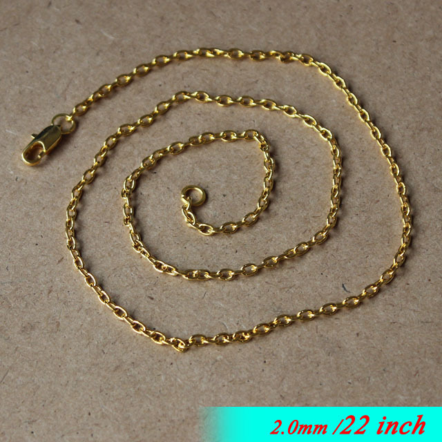 Metal Necklace Chains With Square Clasps 22inch Jewellery Cable Links Fashion Pendants diy Findigs 2mm Gold Sterling Bulk Sale<br><br>Aliexpress