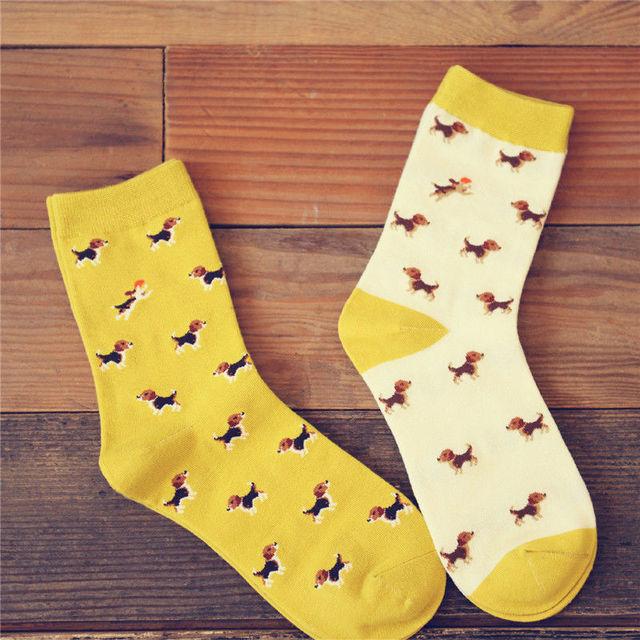 Носки унисекс с собачками канареечного цвета