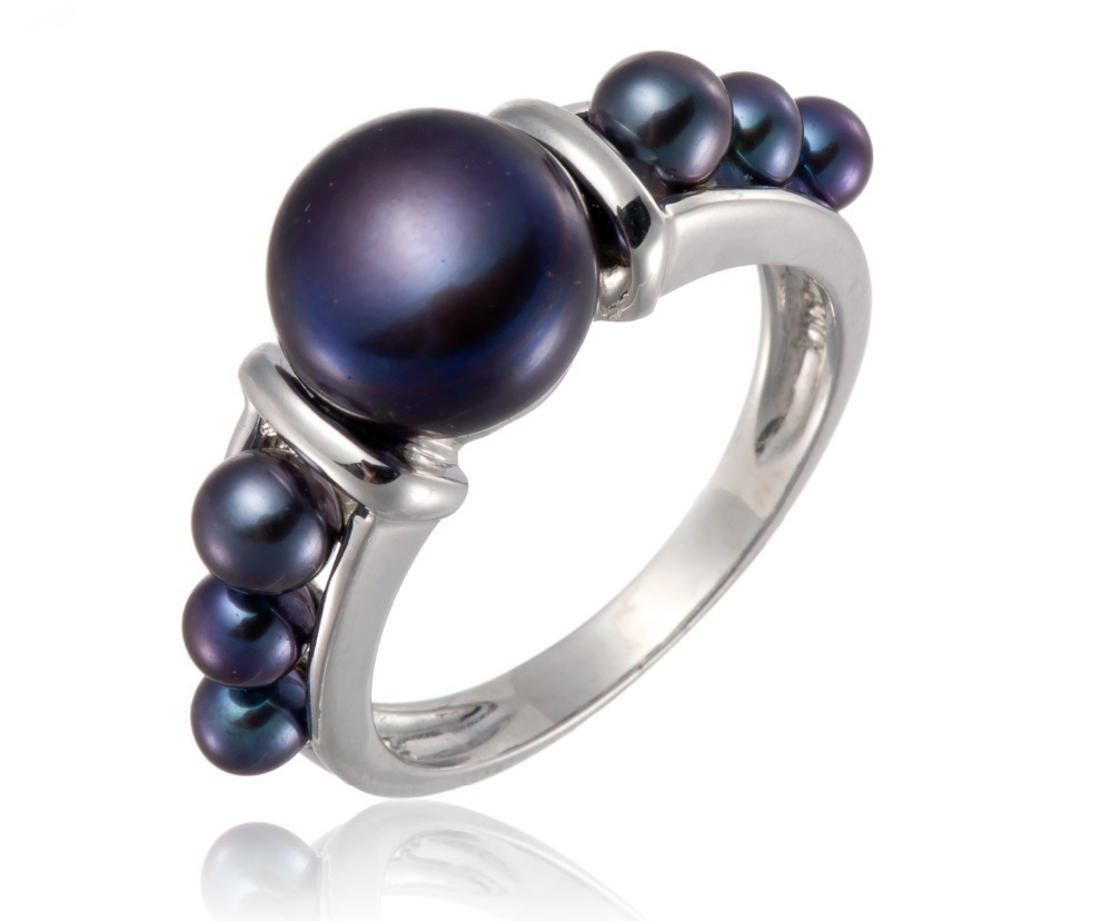 Black Cultured Freshwater Pearl Sterling Silver 925 Fashion Party Ring (9-10mm)<br><br>Aliexpress