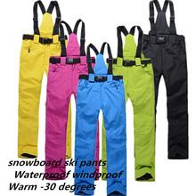 Бесплатная доставка спорт на открытом воздухе водонепроницаемый сноуборд брюки мужчин или женщин зимние брюки водонепроницаемый ветрозащитный дышащий теплые лыжные брюки