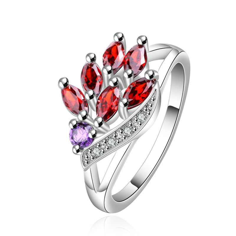 Brand New Fashion Luxury Women Engagement Jewelry Silver Colorful Gem Crystal Zircon Girls Wedding Finger Circle Rings SR555 - Gagafeel Factory Co., Ltd store