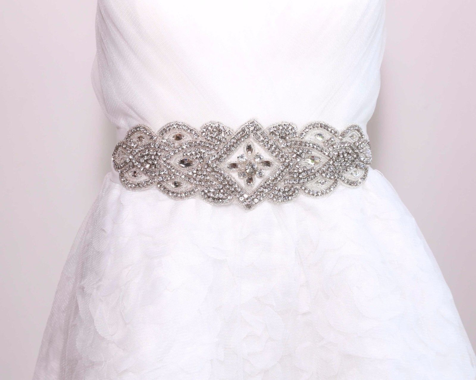 Women 39 s crystal bridal bridesmaid dresses jewlled sash for Rhinestone belts for wedding dresses