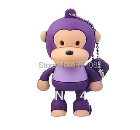 Retail genuine 2G/4G/8G/16G/32G cartoon flash drive stand monkey silicone pen drive usb flash drive Free shipping+Drop shipping(China (Mainland))