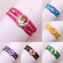 Hot sale !!!  New Fashion Jewelry glass Leather  Multilayer Bracelet Wristbands Party Child Gift(China (Mainland))