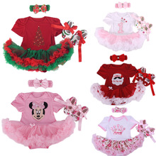 2014New Christmas Baby Infant 3pcs Clothing Sets Girl Xmas Gift Costumes Romper Jumpersuit+Headband+Shoes Free shipping