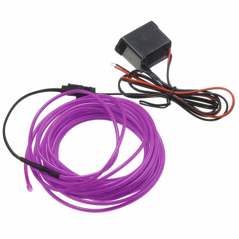 Excellent Quality Led Flexible EL Wire Neon Glow Light 5M With 12V Controller Car Party Wedding Decoration(China (Mainland))