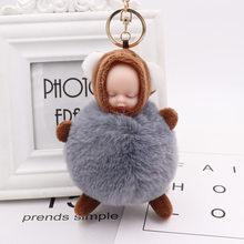 1Pcs Bonito Fofo Bebê Dormindo Chaveiro Bola de Pêlo de Coelho Pompom Chaveiro Car Chaveiro Mulheres Saco Chave Titular Pingente charme Jóias(China)