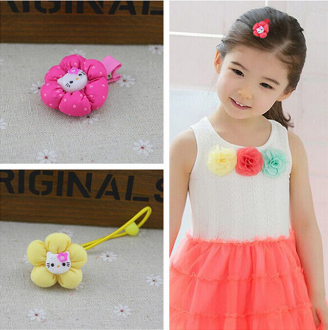 TS 5 Pcs/lot New 2015 colorful fashion Headband Hair Rope Rubber Bands Baby Girls' Kids Cute hair Accessories hairband flower(China (Mainland))