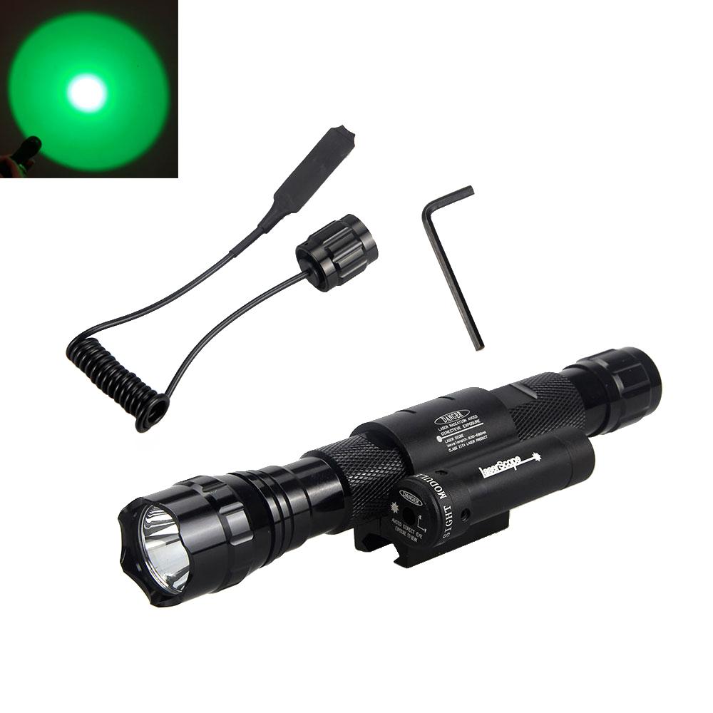 Tactical Q5 CREE Green LED Flashlight Torch Hunting Light & Red Laser Dot Sight(China (Mainland))