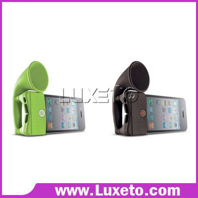 Silicone Horn Stand with speaker for iphone 4, 50pcs/lot DHL 60% discount