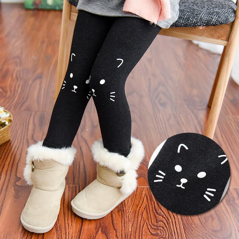 Autumn Winter Fashion Girls Warm Leggings Children Cat Print Pants Elastic Girl's Leggings Kids Skinny Pencil Pants Full Length
