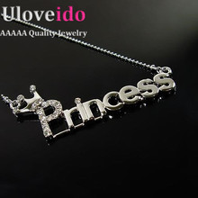 Crown Princess Crystal Silver Plated Long Necklace Pendant with Chain Fashion Jewelry Letter Necklaces Accessories 2015 Ulove(China (Mainland))