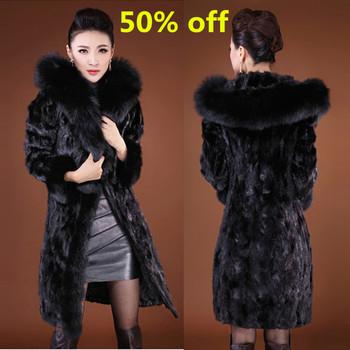 Бесплатная доставка 2015 женская мода енотовидная собака шуба зимних с лисой меховым воротником верхняя одежда леди одежды пальто Большой размер
