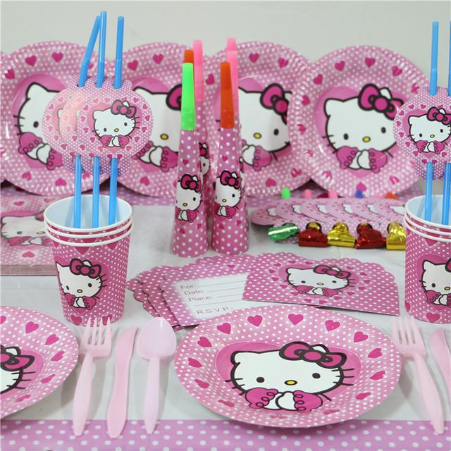 New 74pcs Luxury Kids Girls Birthday Party Decoration Set Hello Kitty