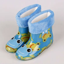 Warm Boots Rain Shoes Cute Baby Green PVC Girls Boys Cartoon 6 Color Size 24-28 Comfort Warm Boots Lovely Shoes Cute Baby Winter(China (Mainland))