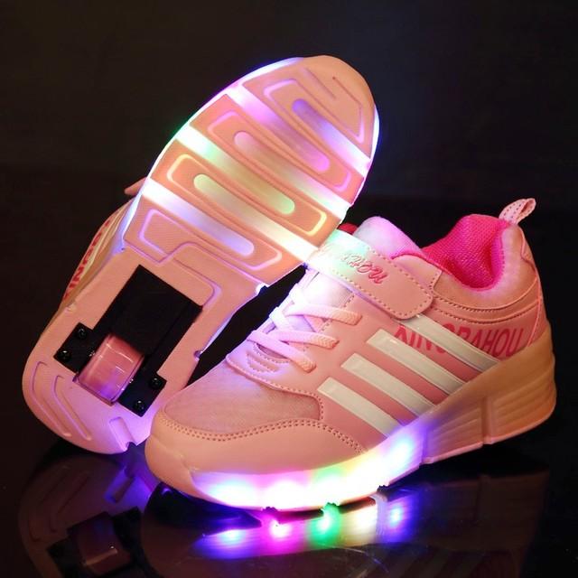 2016 Новый Осень Девушки/Мальчики LED Light Shoes, детская Мода На Роликах Кроссовки, дети Светящиеся Shoes С Одного Колеса