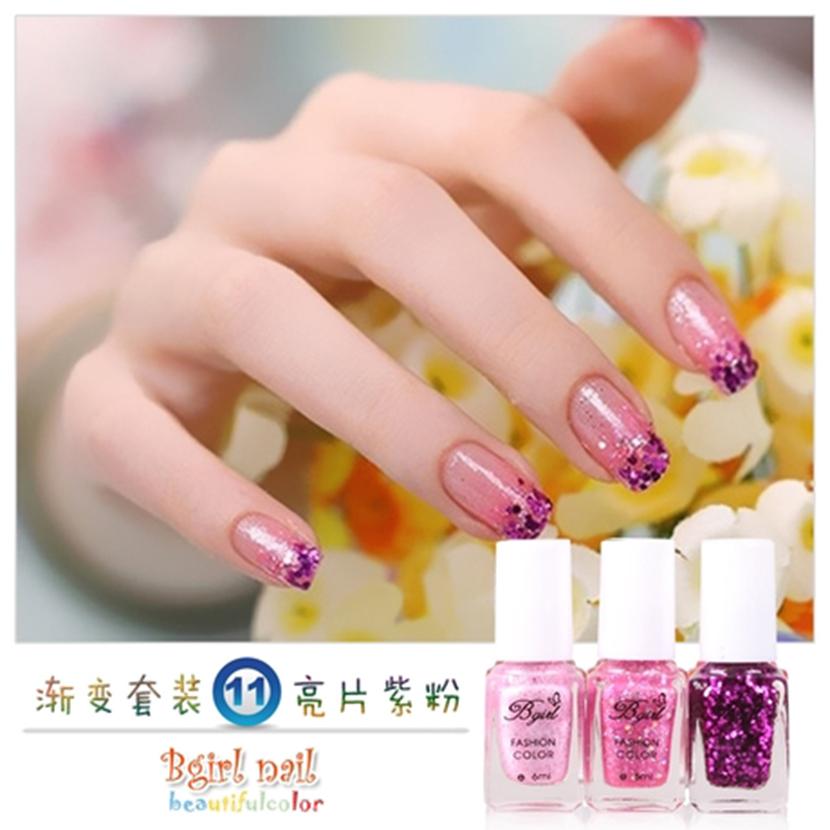 3 Bottles/set 6 ml Gradual Color Nail Polish 36 Color Available UV Nail Gel Polish Long Lasting UV Gel Nail Varnish Choose(China (Mainland))