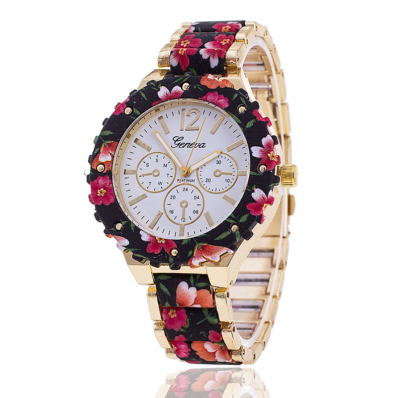 NEW Big Golden Geneva Watch Print Flower Crown Women Geneva Platinum Wristwatch Plastic Links Band Vintage Fashion(China (Mainland))