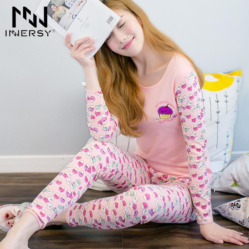 Innersy 2016 Sexy Pijamas Girl Autumn Pajama Cotton Leisure Wear 2 Piece O Neck Long Sleep Suit Women Home Pajamas Suit Cute(China (Mainland))