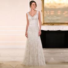 V neck Appliques Beaded Sequins Ivory Lace Wedding Dresses 2015 New A line Wedding Dress Backless Custom vestidos de novia(China (Mainland))