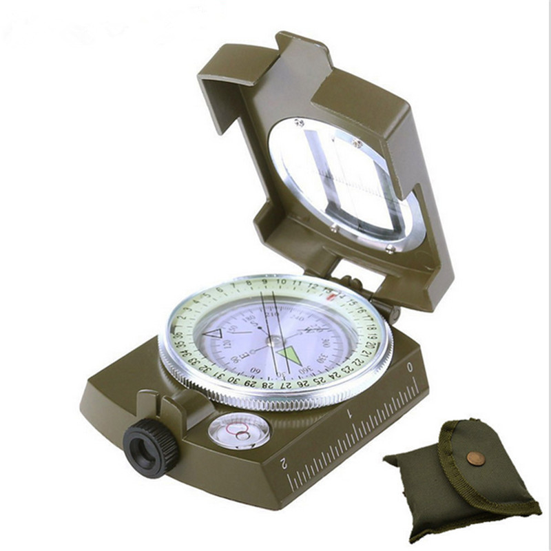 2016 Hot Sale Noctilucent Type Army Outdoor Use Military Travel Geology Pocket Prismatic Compass,Waterproof+Pouch(China (Mainland))