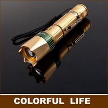 2015  golden aluminum LED Long-range flashlight,100-240LM,focusing adjustable, with pen clip,bicycle headlight,without battery(China (Mainland))