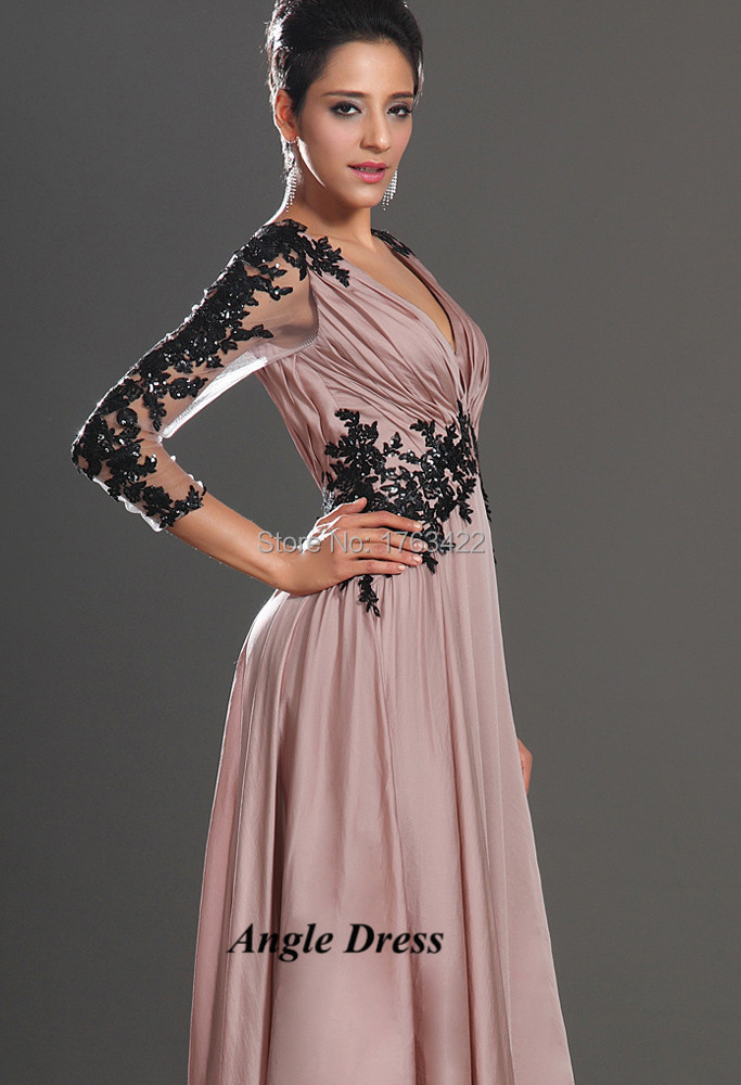 pics for gt black and pink gowns with sleeves