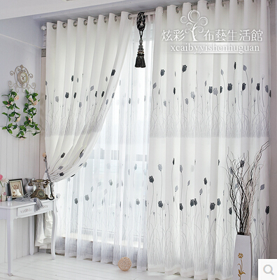 2015 white flower print window curtains for living room for Decoration maison rideaux fenetre