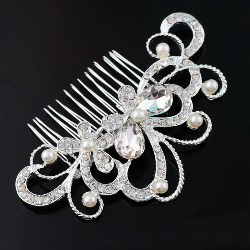 New Fashion Crystal Rhinestone Flower Hair Clip Comb Pin For Women Bridal Wedding Headdress Hair Accessories