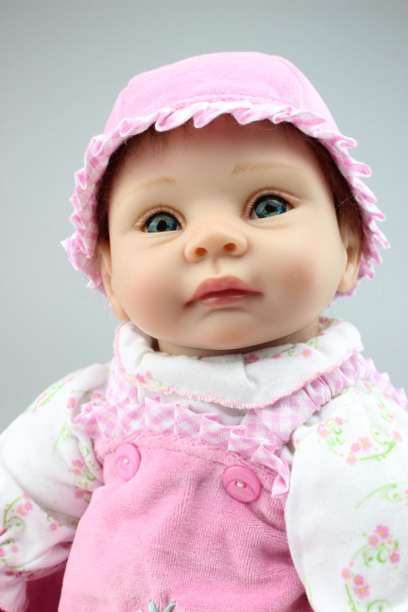 New Girls Gift 22 Inch Brown&Blue Eyes Silicone Reborn Dolls With Magnetic Pacifier From Chinese Doll Direct Manufacturers(China (Mainland))