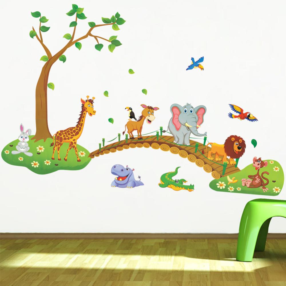 Cartoon Jungle wild animal wall stickers for kids rooms home decor lion Giraffe elephant birds living room PVC decals(China (Mainland))