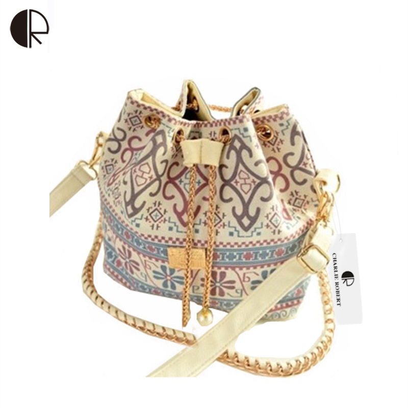 DUSUN Promotion Hot Women Chains Fashion Bucket Bag Canvas Patchwork Houndstooth Brand Messenger Bag Bolsas BS391(China (Mainland))