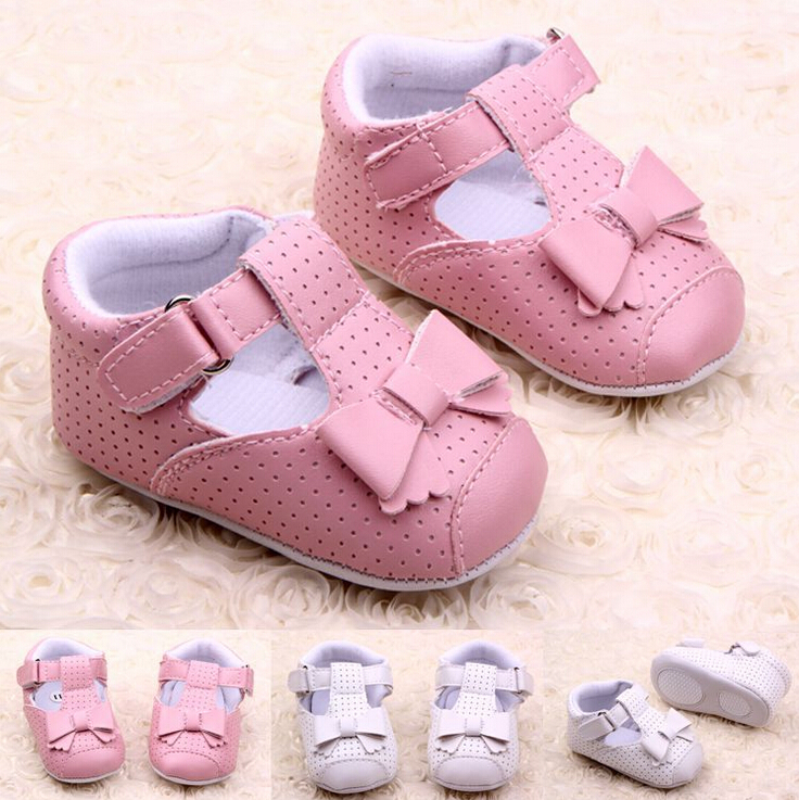 0-2 year old girl first walk shoe pink and white leather material newborn baby girl shoes(China (Mainland))