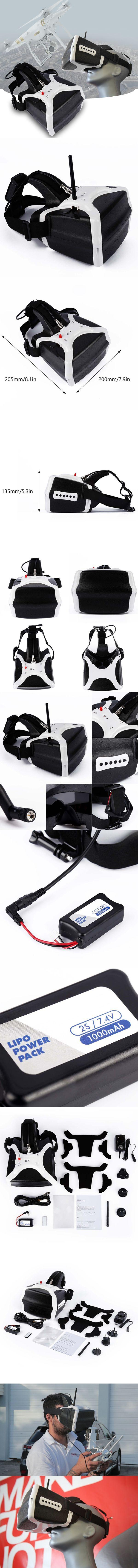 New White HD 1280×800 FPV Video Goggles 32Ch 5.8GHz Headset Receiver for DJI A676