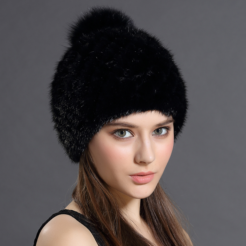Hot Sale Mink Fur Beanies Cap With Fox Fur Pompoms For Women New Brand Thicken Female Cap Winter Knitted Real Mink Fur Hat(China (Mainland))