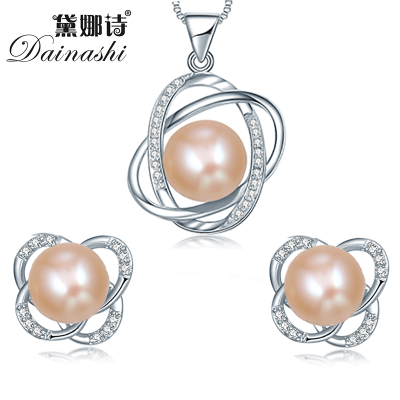 Trendy Cross 925 Sterling Silver Jewelry Sets (pendant necklace & earring) big pearl 10-11mm pendant and 9-9.5 mm pearl earring(China (Mainland))