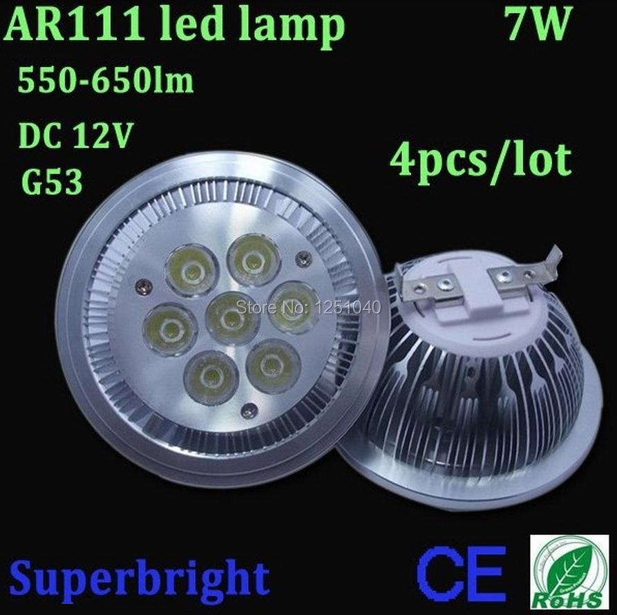 G53 ES111 QR111 AR111 LED lamp 7W Spotlights Warm White /Nature White/Cool White Input DC 12V<br><br>Aliexpress