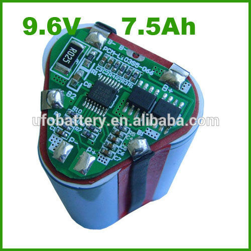 9.6v 7.5ah cylindrical lithium ion battery pack with PCB for vacuum cleaner(China (Mainland))