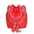 2016 Women Genuine Leather Handbag Tassel Chains Rivets String Red Handbag Lady Shoulder Messenger Black Bags