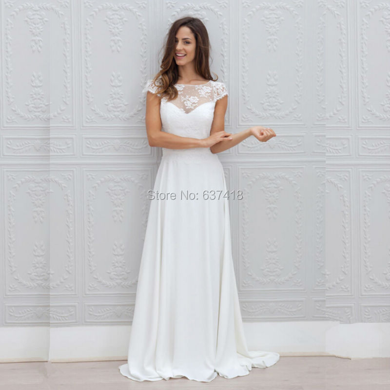 bohemian wedding dress lace and chiffon open back with cap sleeves cheap beach wedding dress vestidos