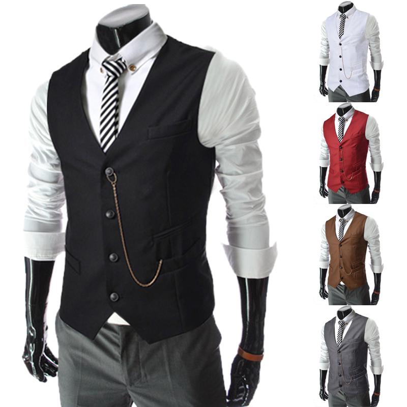 2014 spring mens clothing male metal chain decoration slim business casual vest white vestОдежда и ак�е��уары<br><br><br>Aliexpress