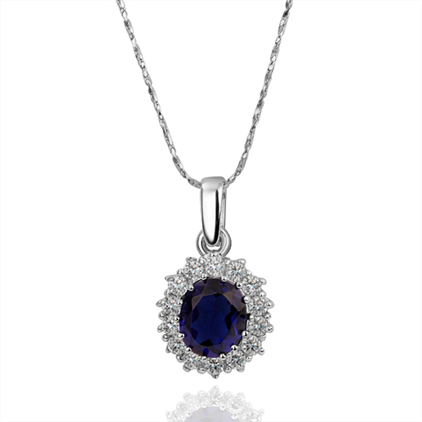 18K White Gold-plated Fashion Jewelry Elegant Sapphire Zircon Crystal Bezel Necklace & Pendant Oval Ladies Women's Jewel YPN016(China (Mainland))