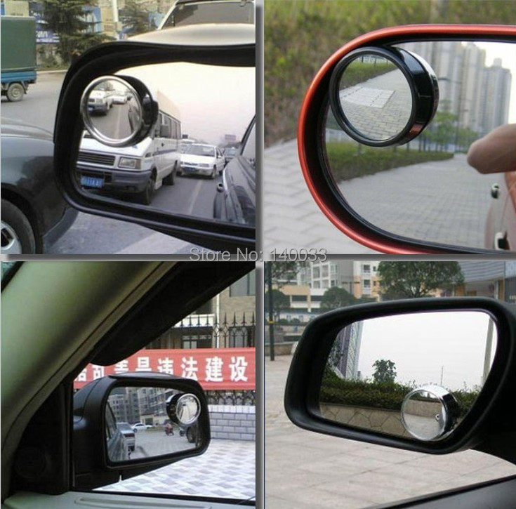 Free Shipping 1 pair 2pcs Wide Angle Rear Side View Blind Spot Round Convex Car Mirror for Car white 21102(China (Mainland))
